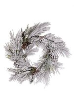 "24"" SNOW PINE/LEAVES/ WREATH SNOW/GREEN"