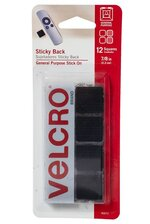 "7/8"" VELCRO SQUARE STICKY (PKG/12) BLACK"