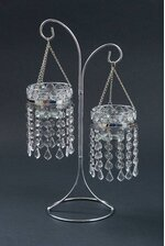 """15.75"""" BEAD HANGING CANDLE HOLDER STAND SILVER/CLEAR"""