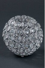 """4.25"""" X 4.5"""" CRYSTAL BEAD CANDLE HOLDER SILVER/CLEAR"""