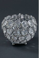 """3"""" X 3.25"""" CRYSTAL BEAD CANDLE HOLDER SILVER/CLEAR"""