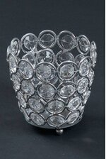 """3.25"""" X 3"""" CRYSTAL BEAD CANDLE HOLDER SILVER/CLEAR"""