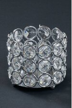 """3"""" X 2.5"""" CRYSTAL BEAD CANDLE HOLDER SILVER/CLEAR"""