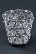 """3"""" X 2.75"""" CRYSTAL BEAD CANDLE HOLDER SILVER/CLEAR"""