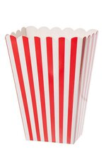 "4"" X2.5"" X5.25""PAPER POPCORN BOXES STRIPE RED PKG/6"