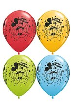 "11"" ROUND MICKEY HAPPY B-DAY LATEX BALLOON ASSORT PKG/25"