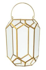 "9""x 6.5""x 6"" HANGING GLASS PRISM TERRARIUM CLEAR/GOLD"