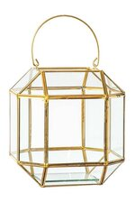 "7.25""x 7""x 7"" HANGING GLASS PRISM TERRARIUM CLEAR/GOLD"
