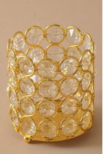"""3"""" X 3.5"""" CRYSTAL BEAD CANDLE HOLDER GOLD/CLEAR"""