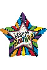"18"" FOIL BALLOON HAPPY BIRTHDAY STRIPES W/STARS PKG/10"