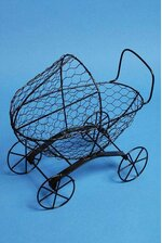 "10"" X 10.5"" X 6.25"" WIRE 4-WHEEL BUGGY BLACK"