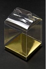 "4"" X 4"" X 4.75"" FAVOR BOX W/GOLD BOTTOM PKG/12"