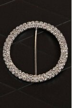 "3.35"" ROUND RIBBON BUTTON SILVER/CRYSTAL"