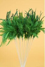 "14"" OWL FEATHER SPRAY KELLY GREEN PKG/12"