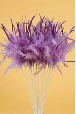 "14"" OWL FEATHER SPRAY LAVENDER PKG/12"