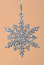 "2.5"" GLITTER SNOW FLAKE ORNAMENT SILVER PKG/12"