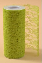 "6"" X 10YDS SPARKLE LACE APPLE GREEN"