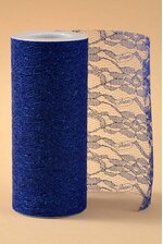 "6"" X 10YDS SPARKLE LACE ROYAL BLUE"