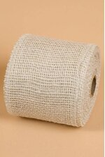 "4"" X 10YDS JUTE RIBBON BURLAP WHITE"