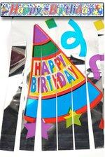 "5' METALLIC FRINGED BANNER ""HAPPY BIRTHDAY"""