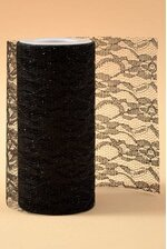"6"" X 10YDS SPARKLE LACE BLACK"