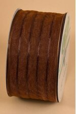 "2.5"" X 50YDS WIRED SHEER PIN RIBBON BROWN"