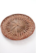 """14"""" X 1.5"""" ROUND TWO TONE PIZZA TRAY RED/BROWN"""