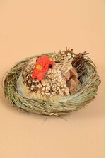 "6.5"" HEN LICHEN/TWIG IN NEST NATURAL"