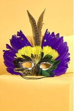 FEATHER MASK PURPLE/GREEN/YELLOW