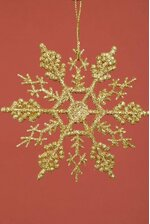 "4"" GLITTER SNOW FLAKE ORNAMENT GOLD PKG/12"