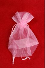 "3.5"" X 5"" X 1.5"" SHEER POUCHES BAG PINK PKG/12"