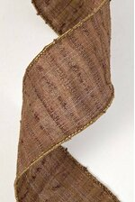 """2.5"""" X 10YDS CHENILLE STRIPE WIRED RIBBON CHOCOLATE"""