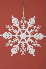 "4"" GLITTER SNOW FLAKE ORNAMENT CREAM PKG/12"