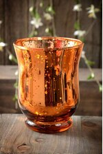 "4"" MERCURY GLASS CANDLE HOLDER AMBER"