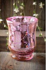 """4"""" MERCURY GLASS CANDLE HOLDER PINK"""