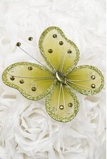 "5"" WIRED DECORATION BUTTERFLY SAGE PKG/20"