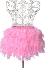 """12"""" 3-LAYER FEATHER ON SATIN DECORATION PINK"""