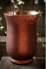 """6"""" FROSTED MERCURY GLASS CANDLE HOLDER BROWN"""