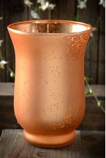 """6"""" FROSTED MERCURY GLASS CANDLE HOLDER AMBER"""
