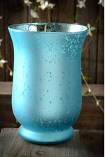 "6"" FROSTED MERCURY GLASS CANDLE HOLDER TURQUOISE"
