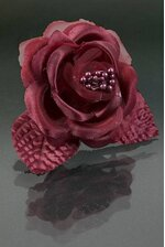 "4"" SATIN ROSE PICK W/PIPS BURGUNDY PKG/12"