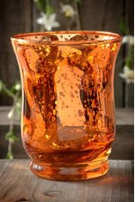 "3.75"" MERCURY GLASS CANDLE HOLDER AMBER"