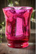 "3.75"" MERCURY GLASS CANDLE HOLDER FUCHSIA"