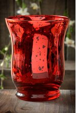 "3.75"" MERCURY GLASS CANDLE HOLDER RED"