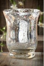 """3.75"""" MERCURY GLASS CANDLE HOLDER SILVER"""