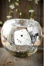 """3.5"""" MERCURY GLASS CANDLE HOLDER SILVER"""