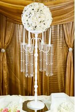 """42"""" METAL CANDLE HOLDER W/BEADS SHINY WHITE"""