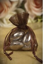 "2"" X 2.5"" ORGANZA POUCHES DARK BROWN PKG/12"