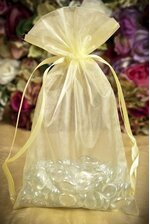 "6"" X 10"" ORGANZA POUCHES YELLOW PKG/12"