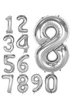"40"" NUMBERS FOIL BALLOON SILVER"